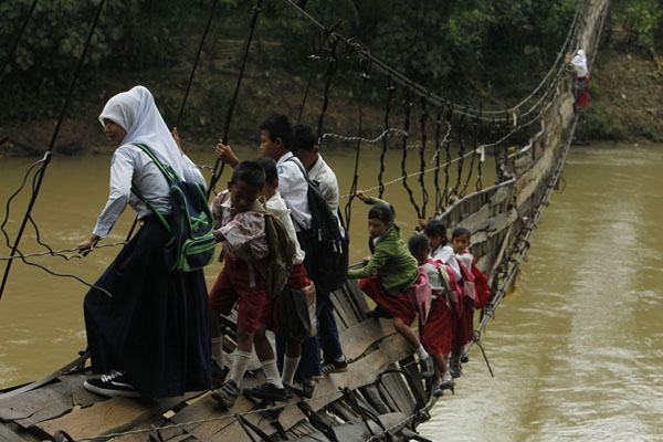 risking their lives to get to school - bridge