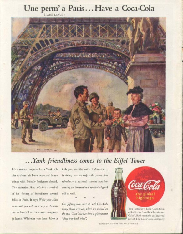 Coke ad Paris 1945