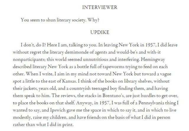 updike quote not new york