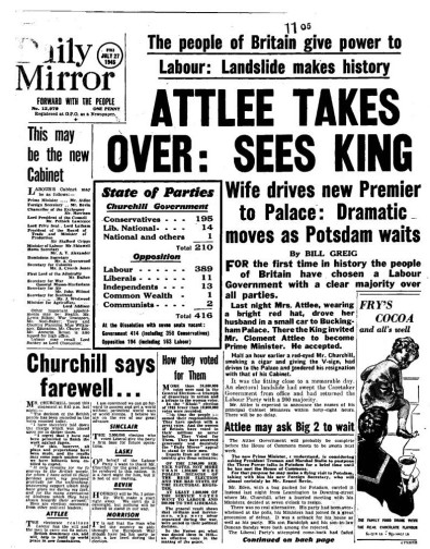 daily mirror 1945 attlee